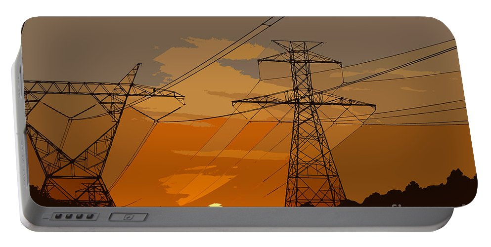 Power Portable Battery Charger featuring the painting Power To The People by David Lee Thompson