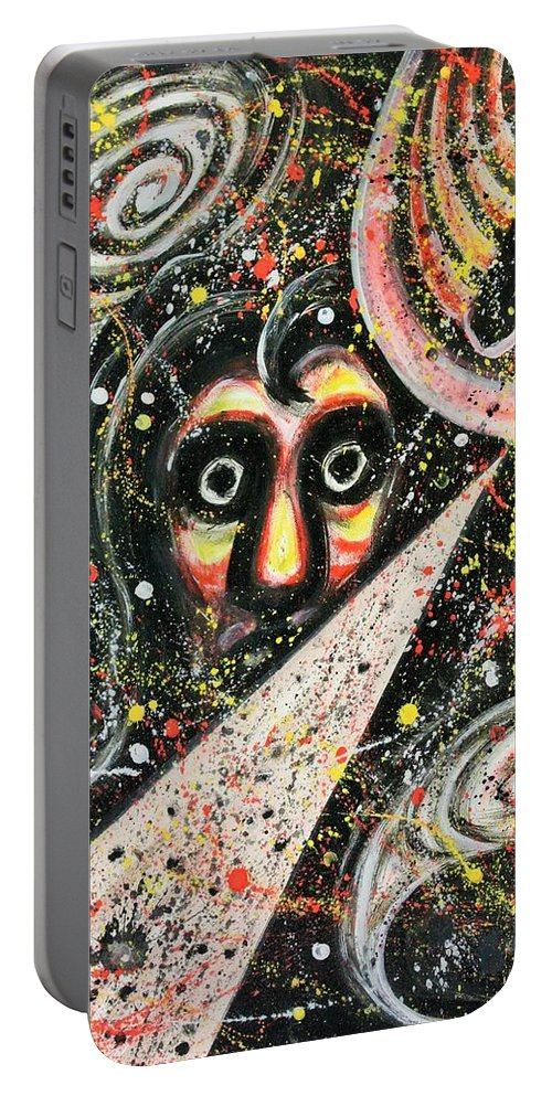 Arts Portable Battery Charger featuring the painting Powered Visions Of Mortal by Mbonu Emerem