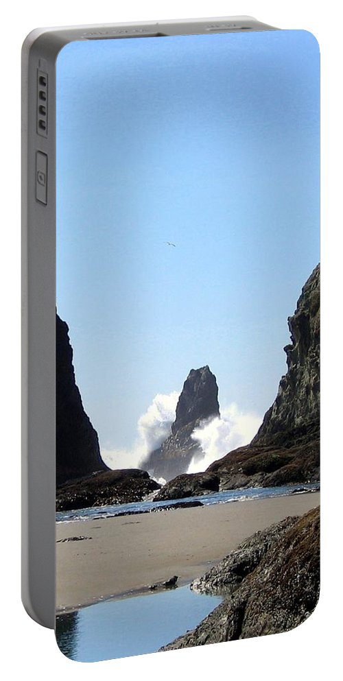 Wave Portable Battery Charger featuring the photograph Powerful Sea by Will Borden