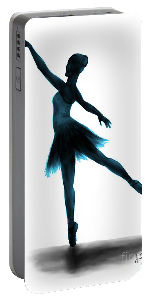 Ballet Portable Battery Charger featuring the digital art Practice Makes Perfect - Blue by Alina Davis