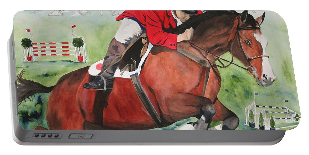 Horse Portable Battery Charger featuring the painting Practice Makes Perfect by Jean Blackmer