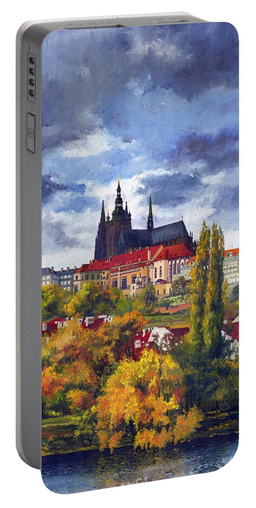 Prague Portable Battery Charger featuring the painting Prague Castle With The Vltava River by Yuriy Shevchuk