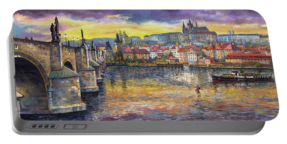 Oil On Canvas Portable Battery Charger featuring the painting Prague Charles Bridge And Prague Castle With The Vltava River 1 by Yuriy Shevchuk
