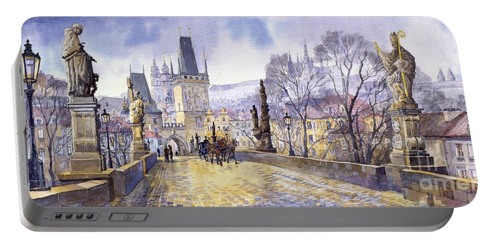 Watercolour Portable Battery Charger featuring the painting Prague Charles Bridge Mala Strana by Yuriy Shevchuk