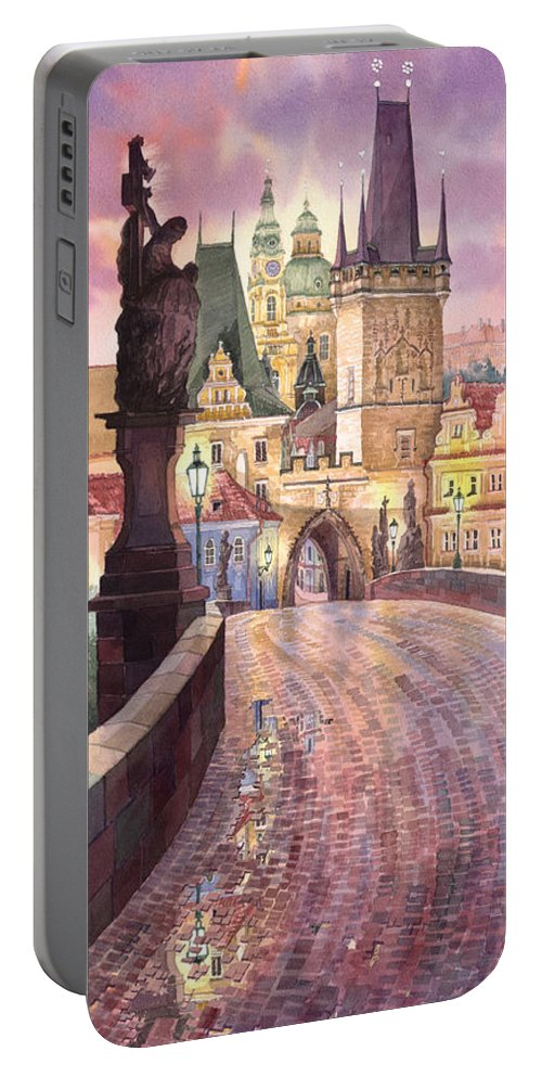 Watercolour Portable Battery Charger featuring the painting Prague Charles Bridge Night Light 1 by Yuriy Shevchuk