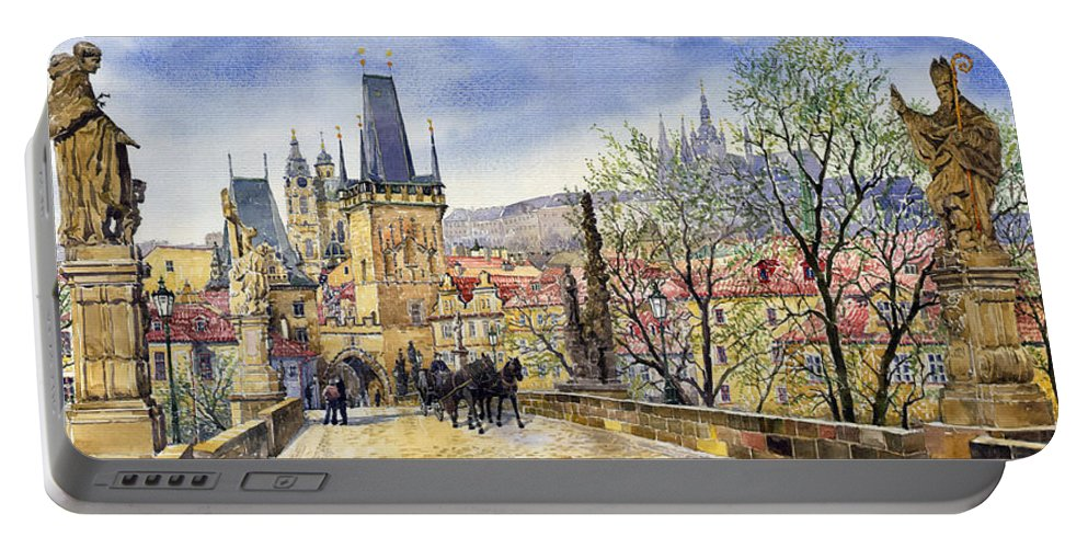 Watercolour Portable Battery Charger featuring the painting Prague Charles Bridge Spring by Yuriy Shevchuk