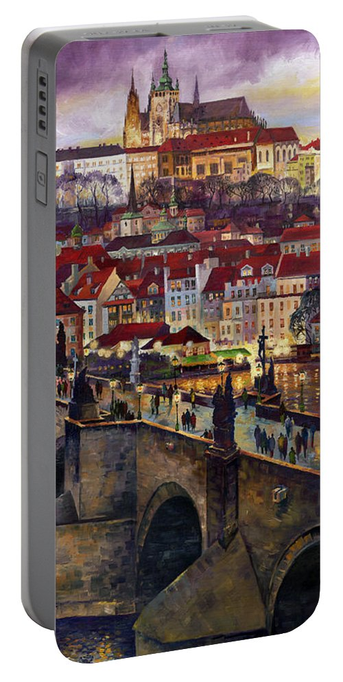 Prague Portable Battery Charger featuring the painting Prague Charles Bridge with the Prague Castle by Yuriy Shevchuk