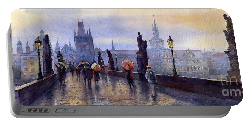 Cityscape Portable Battery Charger featuring the painting Prague Charles Bridge by Yuriy Shevchuk
