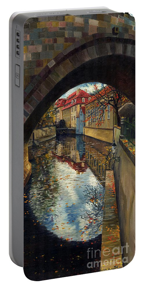 Oil Portable Battery Charger featuring the painting Prague Chertovka 3 by Yuriy Shevchuk