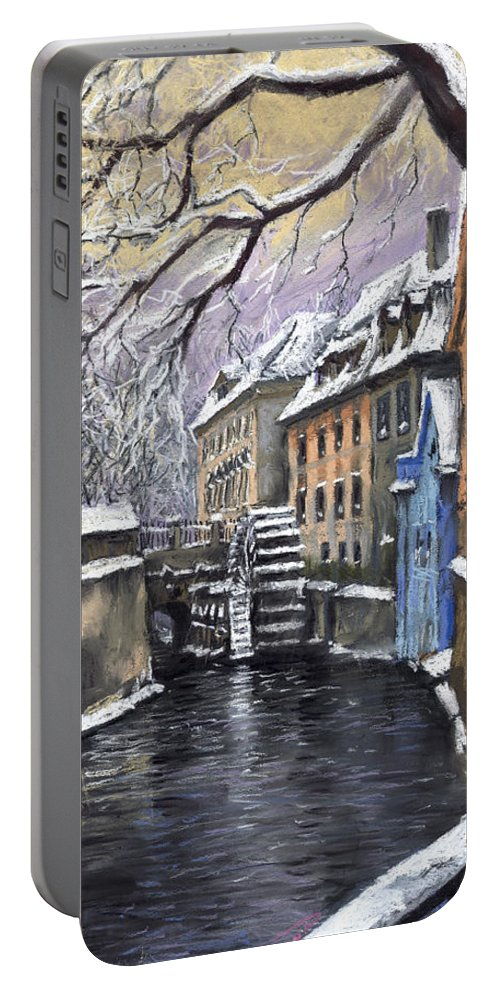 Pastel Portable Battery Charger featuring the painting Prague Chertovka Winter by Yuriy Shevchuk