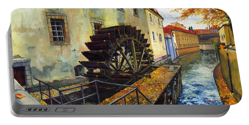 Prague Portable Battery Charger featuring the painting Prague Chertovka by Yuriy Shevchuk