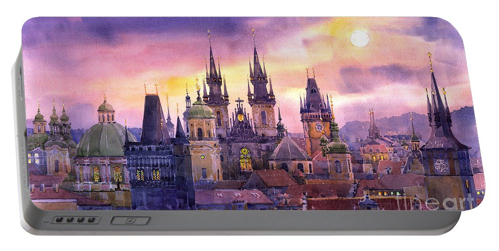 Architecture Portable Battery Charger featuring the painting Prague City Of Hundres Spiers Variant by Yuriy Shevchuk