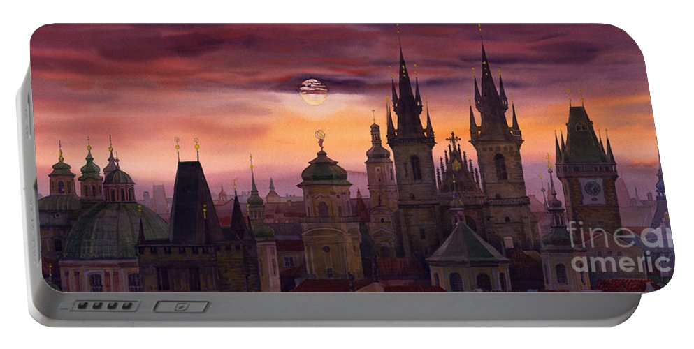 Cityscape Portable Battery Charger featuring the painting Prague City Of Hundres Spiers by Yuriy Shevchuk