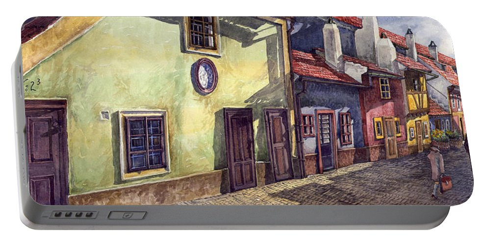 Watercolour Portable Battery Charger featuring the painting Prague Golden Line Street by Yuriy Shevchuk
