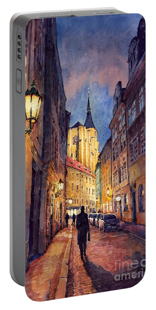 Architecture Portable Battery Charger featuring the painting Prague Husova Street by Yuriy Shevchuk