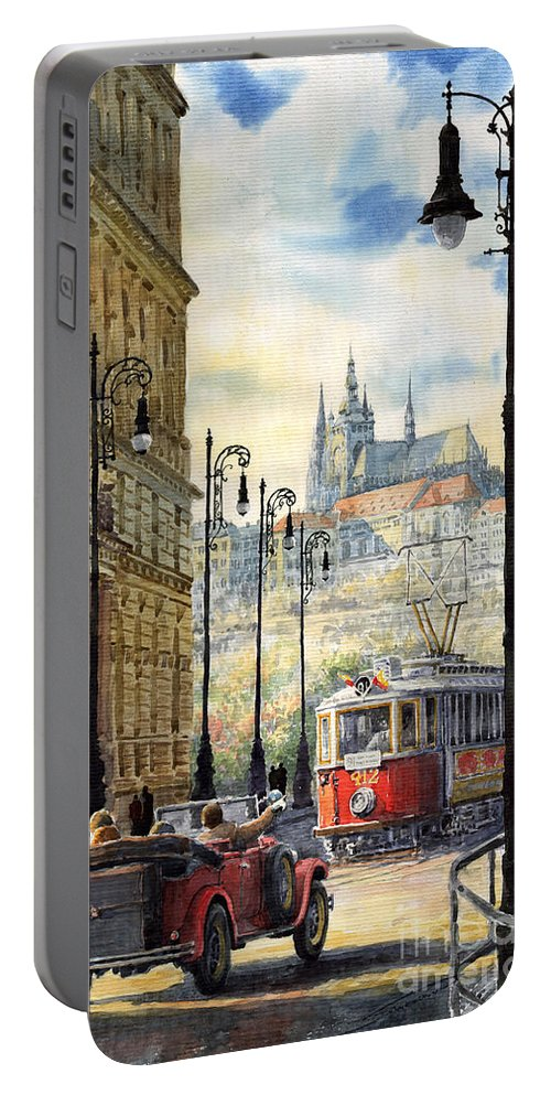 Architecture Portable Battery Charger featuring the painting Prague Kaprova Street by Yuriy Shevchuk