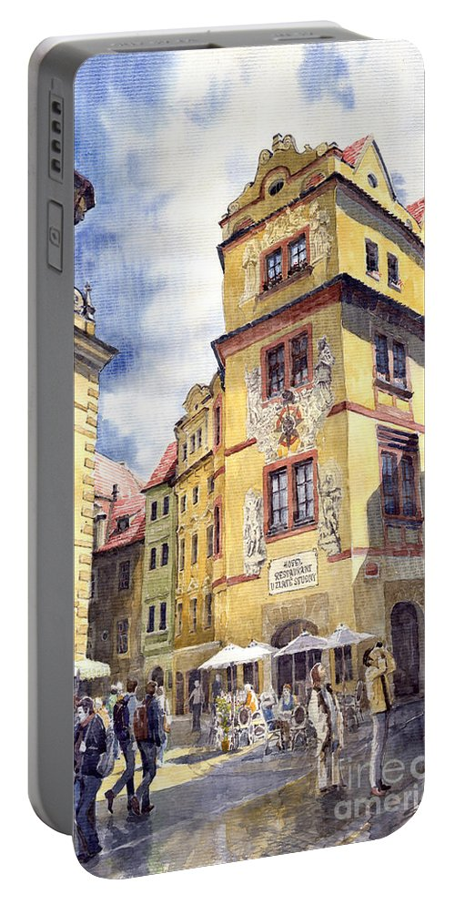 Architecture Portable Battery Charger featuring the painting Prague Karlova Street Hotel U Zlate Studny by Yuriy Shevchuk