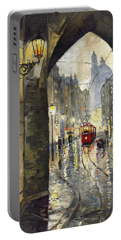 Prague Portable Battery Charger featuring the painting Prague Mostecka Street by Yuriy Shevchuk