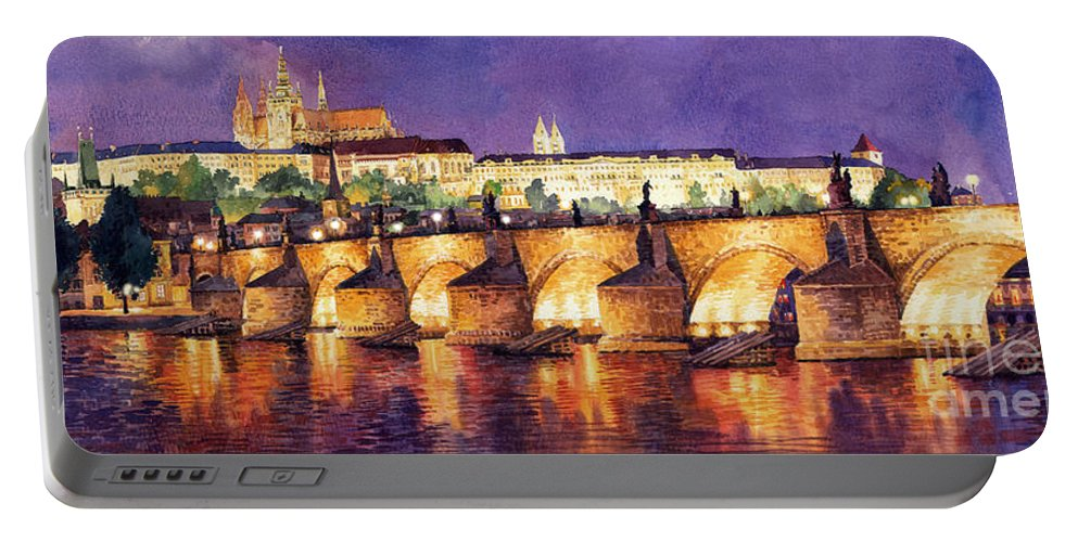 Watercolour Portable Battery Charger featuring the painting Prague Night Panorama Charles Bridge by Yuriy Shevchuk