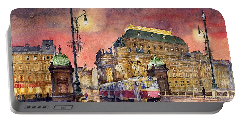 Bridge Portable Battery Charger featuring the painting Prague Night Tram National Theatre by Yuriy Shevchuk