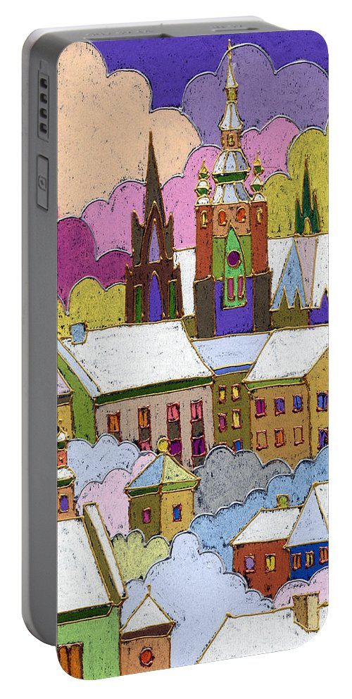 Pastel Portable Battery Charger featuring the painting Prague Old Roofs Prague Castle Winter by Yuriy Shevchuk