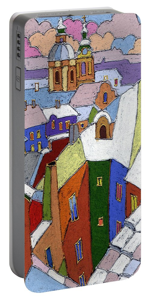 Pastel Portable Battery Charger featuring the painting Prague Old Roofs Winter by Yuriy Shevchuk