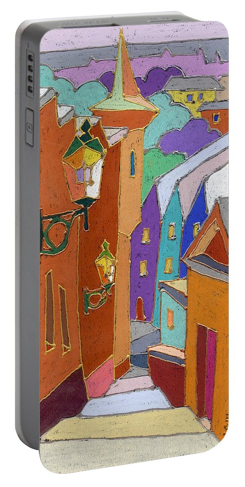 Pastel Portable Battery Charger featuring the painting Prague Old Steps Winter by Yuriy Shevchuk