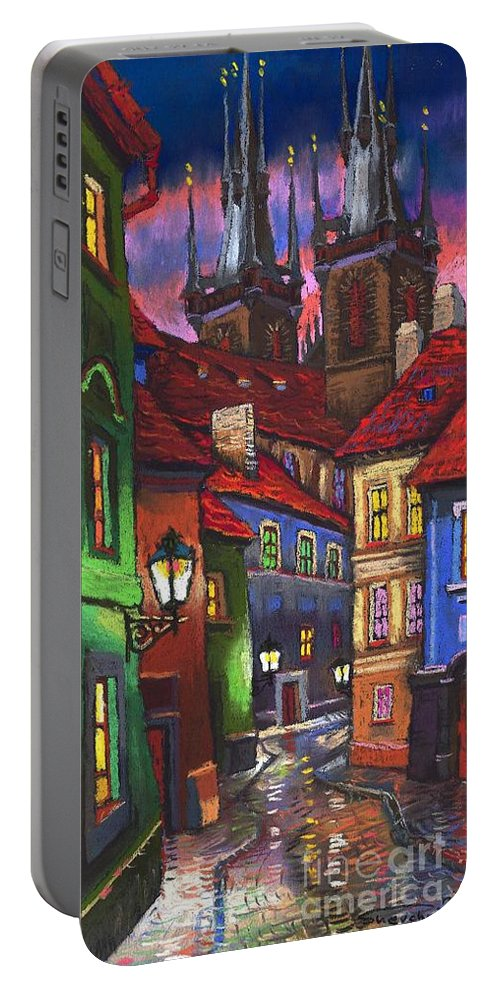 Pastel Portable Battery Charger featuring the painting Prague Old Street 01 by Yuriy Shevchuk