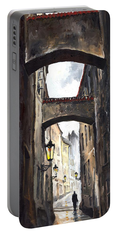 Oil On Canvas Paintings Portable Battery Charger featuring the painting Prague Old Street 02 by Yuriy Shevchuk