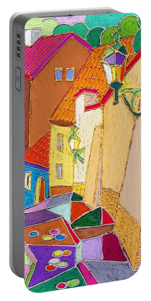 Pastel Portable Battery Charger featuring the painting Prague Old Street Ceminska Novy Svet by Yuriy Shevchuk