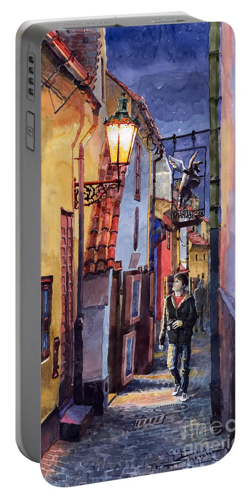 Goldenline Portable Battery Charger featuring the painting Prague Old Street Golden Line by Yuriy Shevchuk