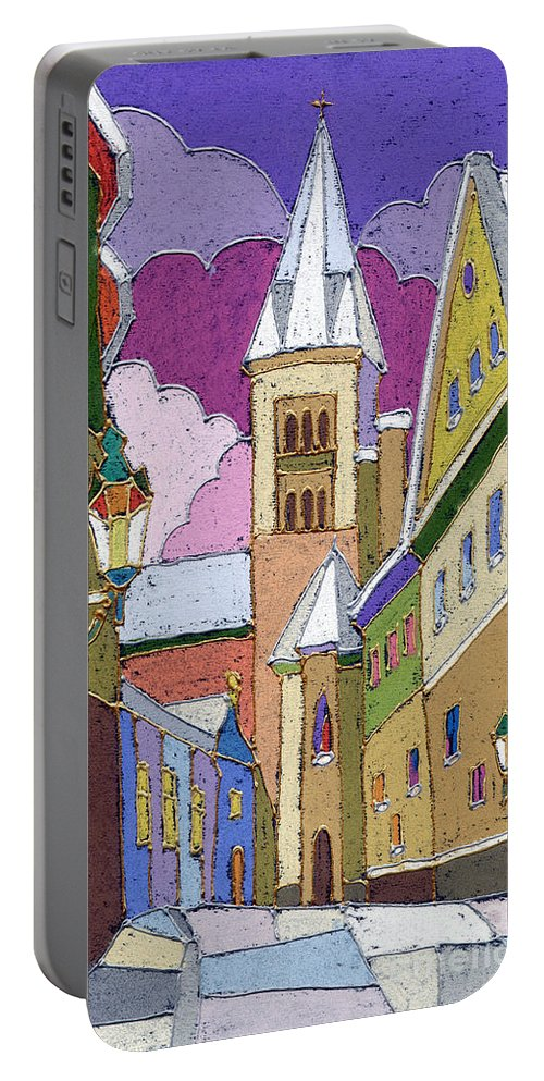 Pastel Portable Battery Charger featuring the painting Prague Old Street Jilska Winter by Yuriy Shevchuk