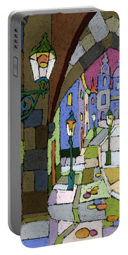Pastel Portable Battery Charger featuring the painting Prague Old Street Mostecka by Yuriy Shevchuk
