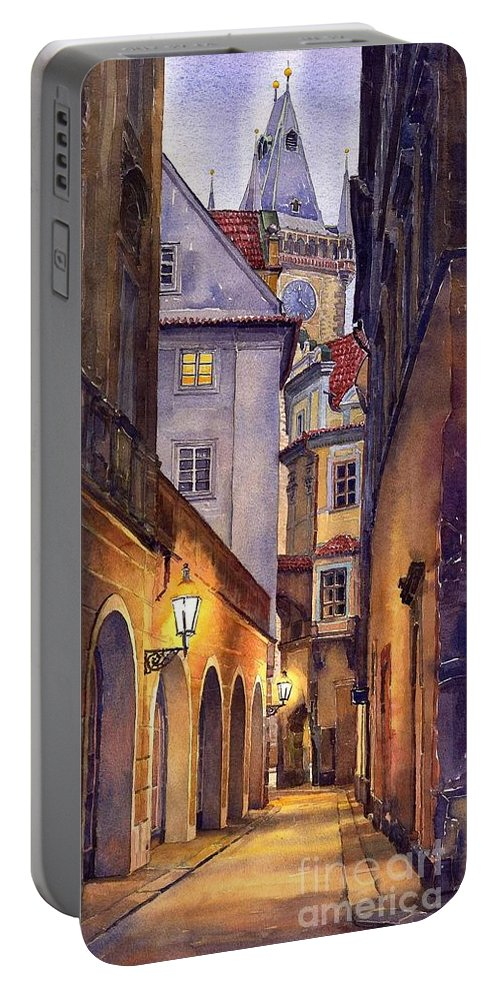 Cityscape Portable Battery Charger featuring the painting Prague Old Street by Yuriy Shevchuk