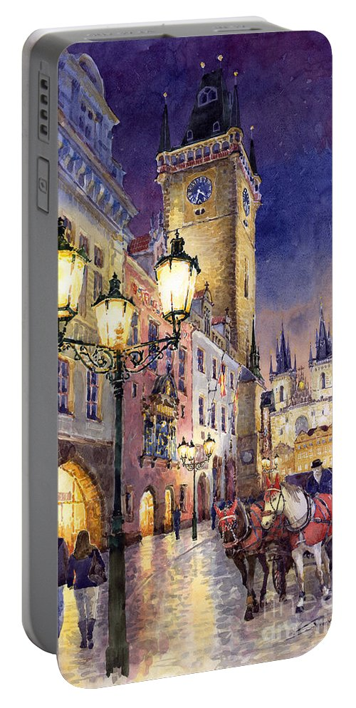 Cityscape Portable Battery Charger featuring the painting Prague Old Town Square 3 by Yuriy Shevchuk