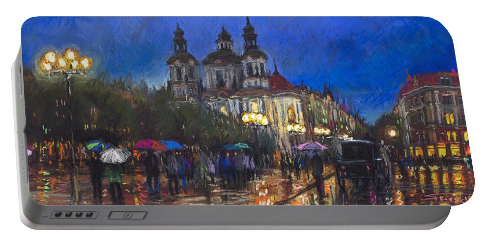 Prague Portable Battery Charger featuring the pastel Prague Old Town Square St Nikolas Ch by Yuriy Shevchuk
