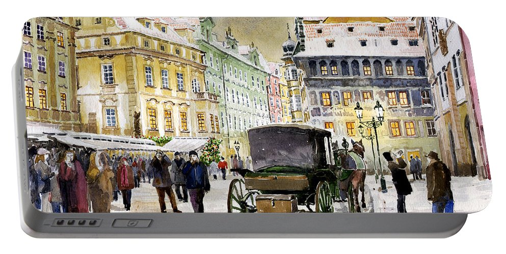 Watercolour Portable Battery Charger featuring the painting Prague Old Town Square Winter by Yuriy Shevchuk