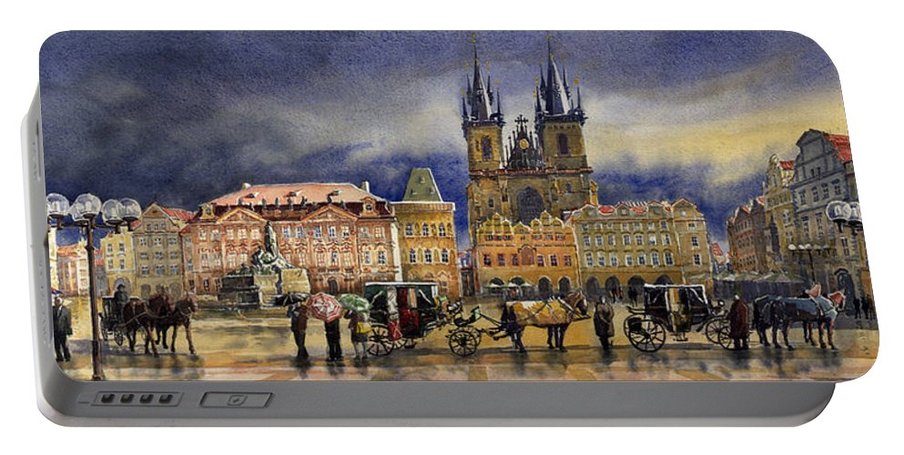 Watercolor Portable Battery Charger featuring the painting Prague Old Town Squere After rain by Yuriy Shevchuk