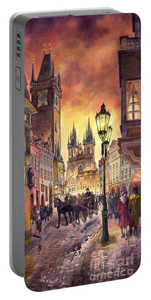 Cityscape Portable Battery Charger featuring the painting Prague Old Town Squere by Yuriy Shevchuk