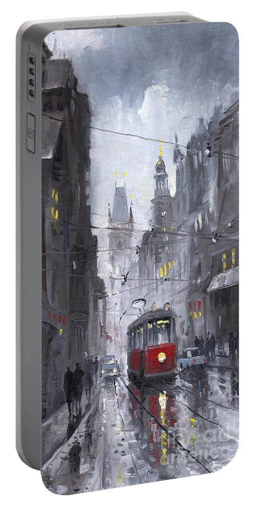 Oil On Canvas Portable Battery Charger featuring the painting Prague Old Tram 03 by Yuriy Shevchuk