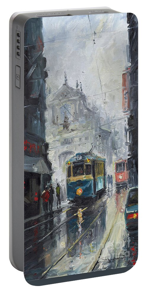 Oil On Canvas Portable Battery Charger featuring the painting Prague Old Tram 04 by Yuriy Shevchuk