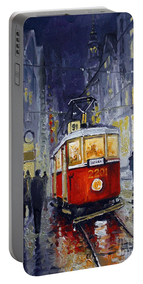 Oil Portable Battery Charger featuring the painting Prague Old Tram 06 by Yuriy Shevchuk