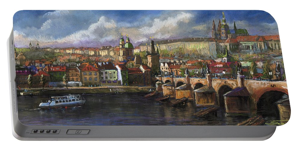 Pastel Portable Battery Charger featuring the painting Prague Panorama Charles Bridge Prague Castle by Yuriy Shevchuk