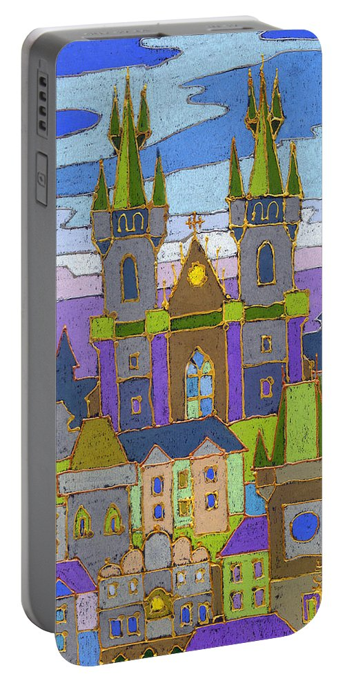Pastel Portable Battery Charger featuring the painting Prague Panorama by Yuriy Shevchuk