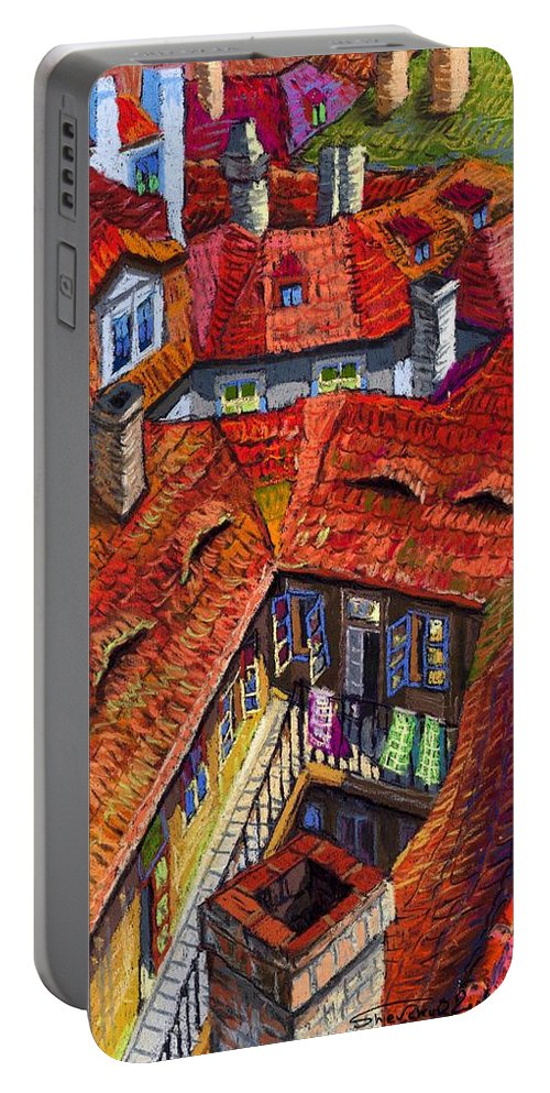 Pastel Portable Battery Charger featuring the painting Prague Roofs 01 by Yuriy Shevchuk