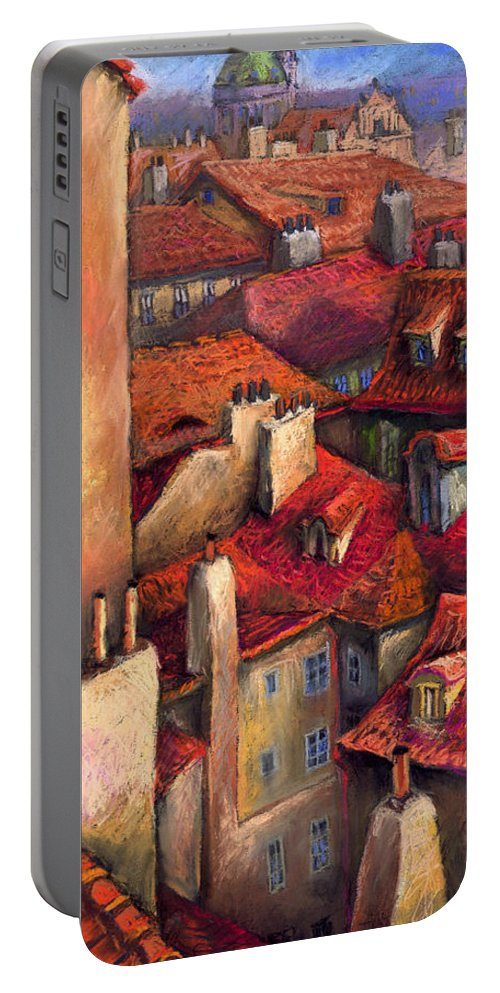 Prague Portable Battery Charger featuring the painting Prague Roofs by Yuriy Shevchuk