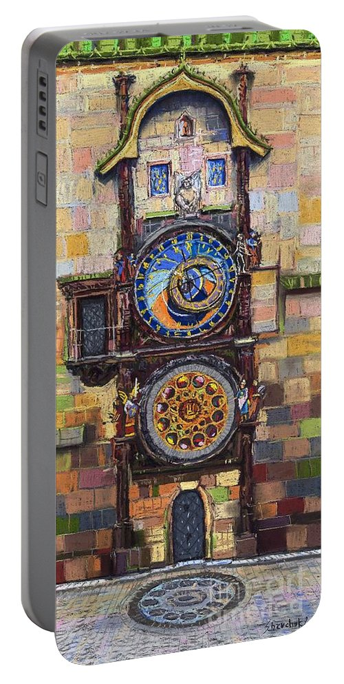Cityscape Portable Battery Charger featuring the painting Prague The Horologue at OldTownHall by Yuriy Shevchuk