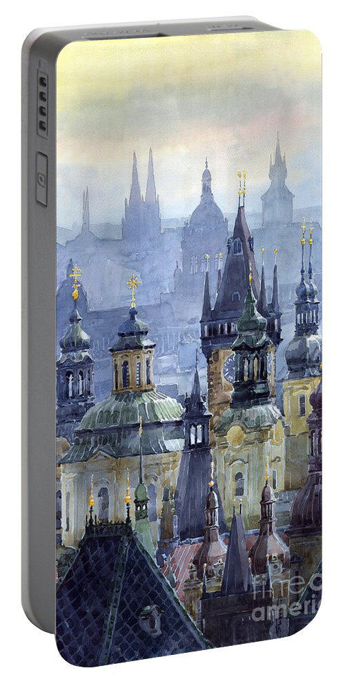 Architecture Portable Battery Charger featuring the painting Prague Towers by Yuriy Shevchuk