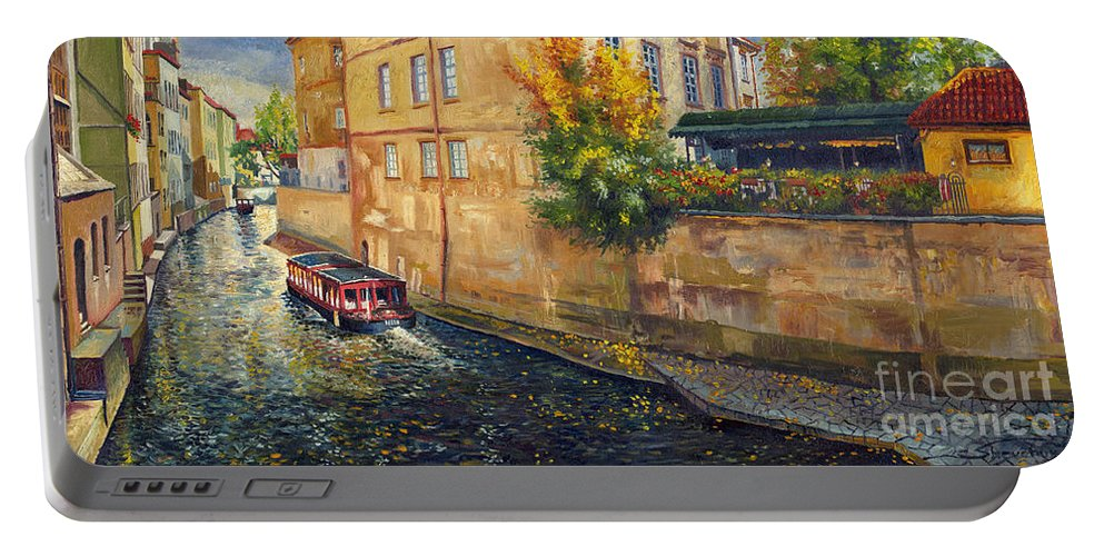 Oil.prague Portable Battery Charger featuring the painting Prague Venice Chertovka 2 by Yuriy Shevchuk