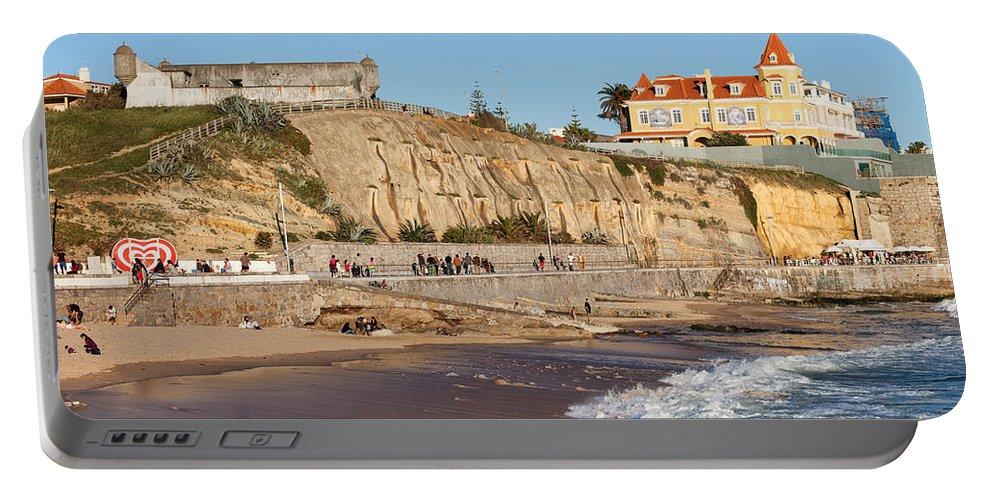 Estoril Portable Battery Charger featuring the photograph Praia Da Poca Beach In Estoril Portugal by Artur Bogacki
